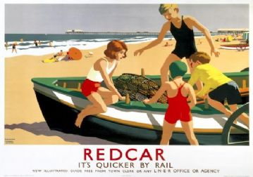 Redcar, Yorkshire, Vintage Railway Travel Poster Print by LNER